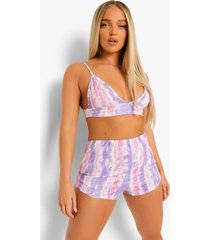 jersey pyjama set met tie dye crop top en shorts, pink