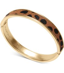lucky brand gold-tone leopard-print faux-fur inlay bangle bracelet