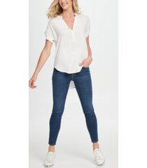 dkny jeans split-neck high-low top