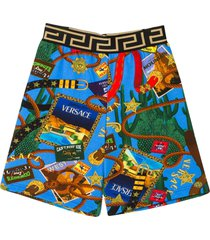young versace blue bermuda shorts with multicolor press
