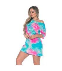 vestido camisetão tie dye m.a modas curto azul e rosa