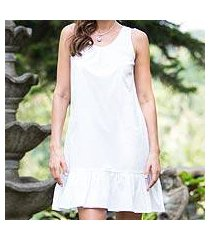 cotton shift dress, 'white gardenia' (indonesia)
