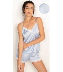pijama conjunto curto azul de poá