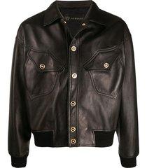 versace medusa head details leather jacket - brown