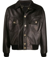 versace medusa head details leather jacket - brown