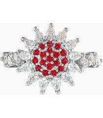 anello botanical, rosso, placcato rodio