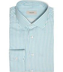 camicia da uomo su misura, canclini, flanella cotone cashmere riga larga azzurra, autunno inverno | lanieri