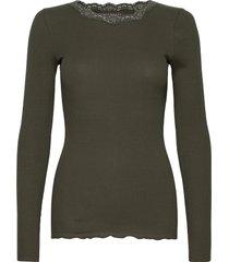 organic t-shirt w/lace t-shirts & tops long-sleeved grön rosemunde