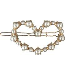 presilha clip narcizza coração vazado com pérolas metal dourado - kanui