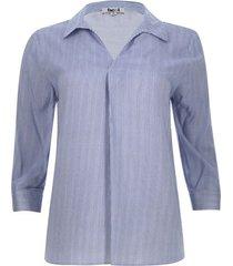 camisa mujer manga 3/4 a rayas color azul, talla s