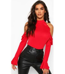 crepe ruffle cold shoulder top, red