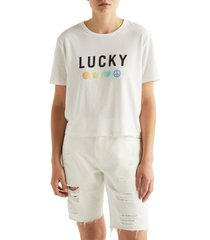 lucky charm graphic tee, size small - white