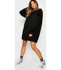 oversized sweatshirt jurk, zwart