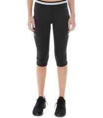 kappa women's kombat beba 3/4-cut leggings - black grey - size xs
