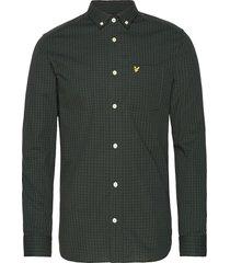 ls slim fit gingham shirt overhemd casual groen lyle & scott