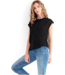 blusa para mujer cuello redondo, manga corta, semitransparente color-negro-talla-xs