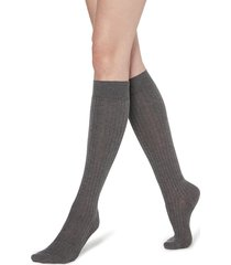 calzedonia - long ribbed socks with cotton and cashmere, 36-38, grey, women