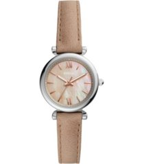 fossil women's mini carlie silver tone case with sand leather strap