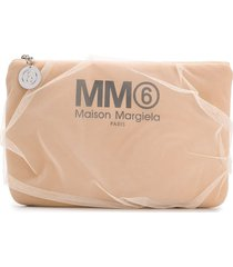 mm6 maison margiela tulle clutch bag - neutrals