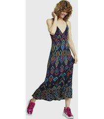 vestido desigual largo azul - calce regular