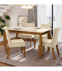 mesa de jantar 4 lugares kalyta nature/off white/linho - bci móveis