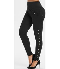 high waisted pocket snap button side leggings