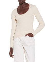 women's sandro cable knit sweater, size 0 - beige