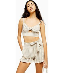 beige gingham frill shorts with linen - natural