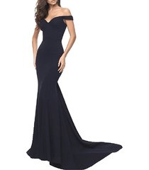 cheap simple long mermaid prom dress black, evening dress,formal dress gowns