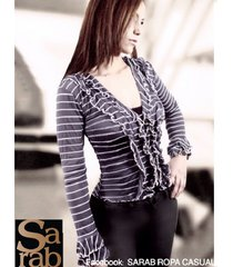 blusa con vuelo en mangas y pechera -sarab - azul a rayas