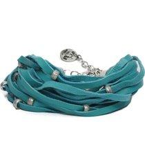 pulsera de mujer verde  multilinee e sfere leather colection vestopazzo