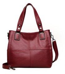 donna soft borsa a tracolla in pelle patchwork per il tempo libero a doppio strato borsa di grande capacità