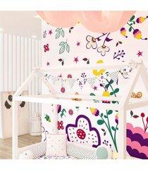 varal bandeirinhas floral colorido 1,60m grã£o de gente rosa - rosa - menina - dafiti