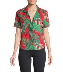 rta women's botanical-print top - red tropical - size xs