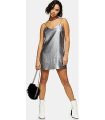 petite metallic silver slip dress - silver