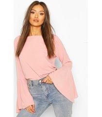 geweven crêpe blouse met fluitmouwen, rose