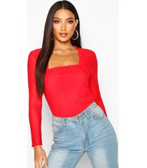 mesh square neck long sleeve top, red