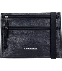 balenciaga explorer pouch shoulder bag in black leather