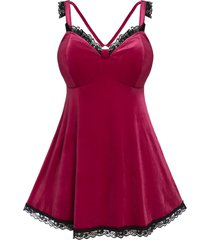 plus size velvet lace insert backless lingerie dress set