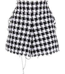 balmain white and black tweed shorts