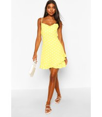 tall polka dot ruffle slip dress, yellow