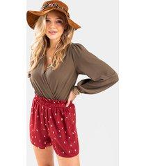 charley polka dot paperbag shorts - burgundy