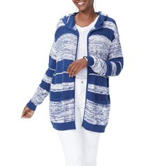 women's nydj hooded stripe cotton cardigan