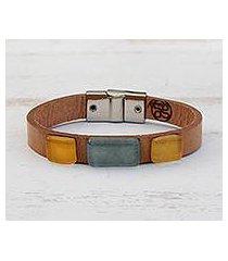 glass and leather wristband bracelet, 'vintage blue' (brazil)