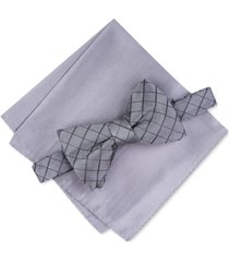 alfani men's grid pre-tied bow tie & solid pocket square set, created for macy's