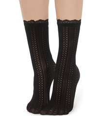 calzedonia - animal print socks, one size, black, women