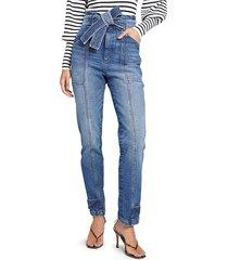 a.l.c. women's luke tie-waist straight leg jeans - light indigo - size 0