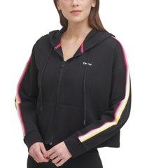 dkny sport cropped zip-front hoodie