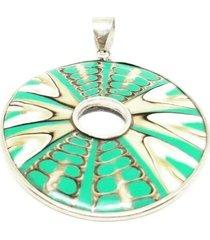 pingente lolla925 mandala turquesa furada prata 925