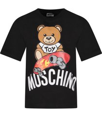moschino black boy t-shirt with teddy bear and skateboard